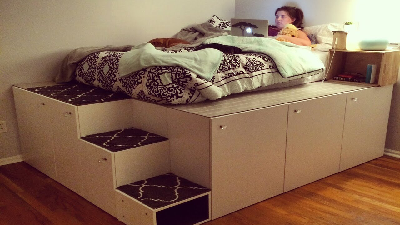 AWESOME PLATFORM BED WITH TONS OF STORAGE USING KITCHEN CABINETS